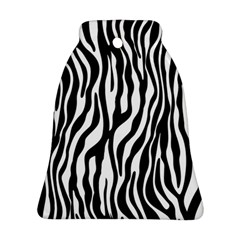 Zebra Stripes Pattern Traditional Colors Black White Bell Ornament (two Sides) by EDDArt