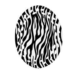 Zebra Stripes Pattern Traditional Colors Black White Ornament (oval Filigree) by EDDArt