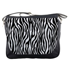 Zebra Stripes Pattern Traditional Colors Black White Messenger Bags by EDDArt