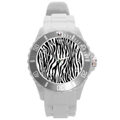 Zebra Stripes Pattern Traditional Colors Black White Round Plastic Sport Watch (l) by EDDArt