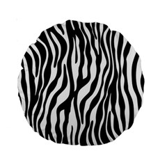 Zebra Stripes Pattern Traditional Colors Black White Standard 15  Premium Round Cushions by EDDArt