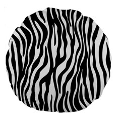 Zebra Stripes Pattern Traditional Colors Black White Large 18  Premium Round Cushions by EDDArt