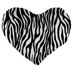 Zebra Stripes Pattern Traditional Colors Black White Large 19  Premium Heart Shape Cushions by EDDArt