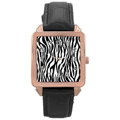 Zebra Stripes Pattern Traditional Colors Black White Rose Gold Leather Watch  by EDDArt