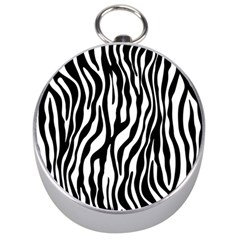 Zebra Stripes Pattern Traditional Colors Black White Silver Compasses by EDDArt