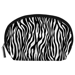 Zebra Stripes Pattern Traditional Colors Black White Accessory Pouches (large)  by EDDArt