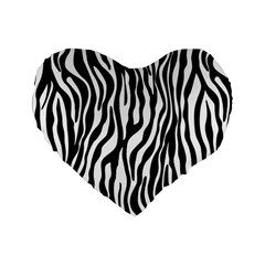 Zebra Stripes Pattern Traditional Colors Black White Standard 16  Premium Flano Heart Shape Cushions by EDDArt
