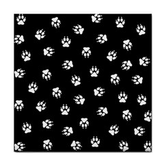 Footprints Dog White Black Tile Coasters by EDDArt
