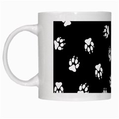 Footprints Dog White Black White Mugs by EDDArt