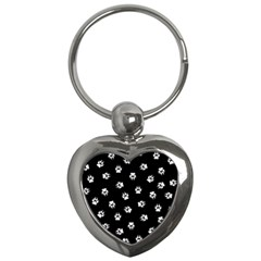 Footprints Dog White Black Key Chains (heart)  by EDDArt