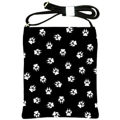 Footprints Dog White Black Shoulder Sling Bags by EDDArt