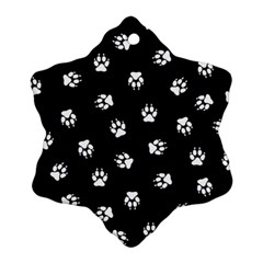 Footprints Dog White Black Ornament (snowflake) by EDDArt