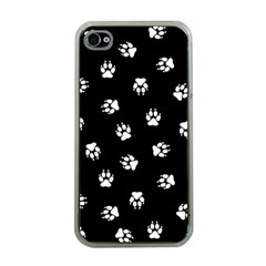 Footprints Dog White Black Apple Iphone 4 Case (clear) by EDDArt