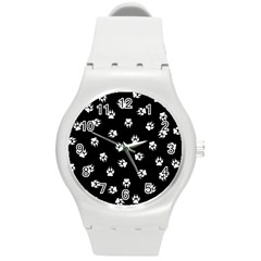 Footprints Dog White Black Round Plastic Sport Watch (m) by EDDArt