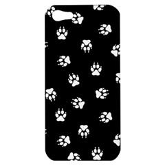 Footprints Dog White Black Apple Iphone 5 Hardshell Case by EDDArt