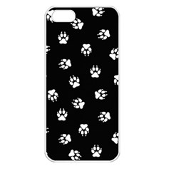 Footprints Dog White Black Apple Iphone 5 Seamless Case (white) by EDDArt