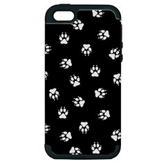 Footprints Dog White Black Apple Iphone 5 Hardshell Case (pc+silicone) by EDDArt