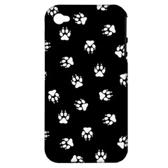 Footprints Dog White Black Apple Iphone 4/4s Hardshell Case (pc+silicone) by EDDArt
