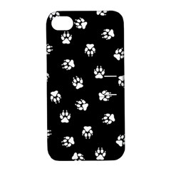 Footprints Dog White Black Apple Iphone 4/4s Hardshell Case With Stand by EDDArt