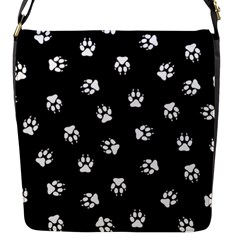 Footprints Dog White Black Flap Messenger Bag (s) by EDDArt