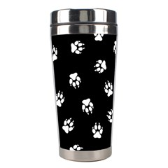 Footprints Dog White Black Stainless Steel Travel Tumblers by EDDArt