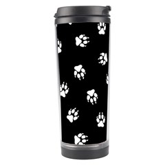 Footprints Dog White Black Travel Tumbler by EDDArt