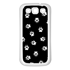 Footprints Dog White Black Samsung Galaxy S3 Back Case (white) by EDDArt