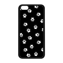 Footprints Dog White Black Apple Iphone 5c Seamless Case (black) by EDDArt