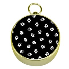 Footprints Dog White Black Gold Compasses by EDDArt