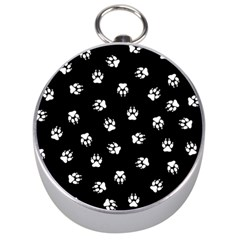 Footprints Dog White Black Silver Compasses by EDDArt