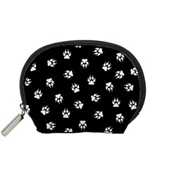 Footprints Dog White Black Accessory Pouches (small)  by EDDArt