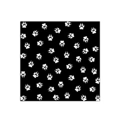 Footprints Dog White Black Satin Bandana Scarf by EDDArt