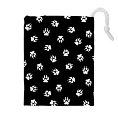 Footprints Dog White Black Drawstring Pouches (extra Large) by EDDArt