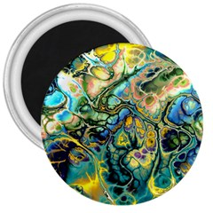 Flower Power Fractal Batik Teal Yellow Blue Salmon 3  Magnets by EDDArt