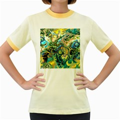 Flower Power Fractal Batik Teal Yellow Blue Salmon Women s Fitted Ringer T Shirts by EDDArt
