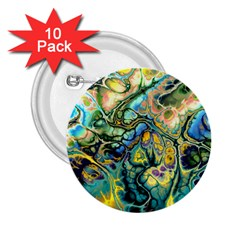 Flower Power Fractal Batik Teal Yellow Blue Salmon 2 25  Buttons (10 Pack)  by EDDArt