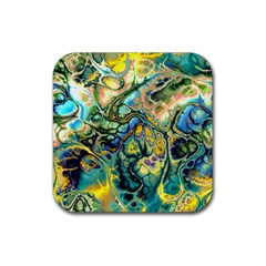 Flower Power Fractal Batik Teal Yellow Blue Salmon Rubber Square Coaster (4 Pack)  by EDDArt
