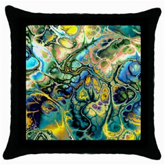 Flower Power Fractal Batik Teal Yellow Blue Salmon Throw Pillow Case (black) by EDDArt