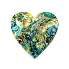 Flower Power Fractal Batik Teal Yellow Blue Salmon Heart Magnet by EDDArt