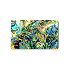 Flower Power Fractal Batik Teal Yellow Blue Salmon Magnet (name Card) by EDDArt
