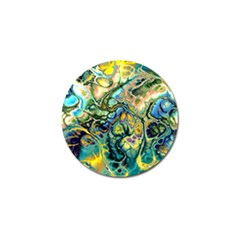 Flower Power Fractal Batik Teal Yellow Blue Salmon Golf Ball Marker (10 Pack) by EDDArt