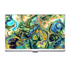 Flower Power Fractal Batik Teal Yellow Blue Salmon Business Card Holders by EDDArt