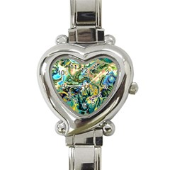 Flower Power Fractal Batik Teal Yellow Blue Salmon Heart Italian Charm Watch by EDDArt