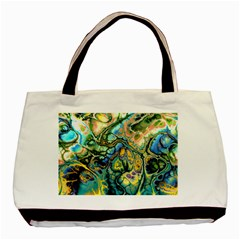 Flower Power Fractal Batik Teal Yellow Blue Salmon Basic Tote Bag by EDDArt