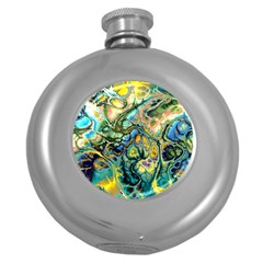 Flower Power Fractal Batik Teal Yellow Blue Salmon Round Hip Flask (5 Oz) by EDDArt