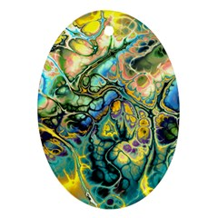 Flower Power Fractal Batik Teal Yellow Blue Salmon Oval Ornament (two Sides) by EDDArt