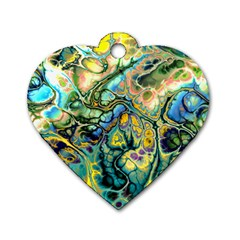 Flower Power Fractal Batik Teal Yellow Blue Salmon Dog Tag Heart (one Side) by EDDArt