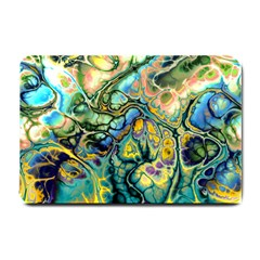 Flower Power Fractal Batik Teal Yellow Blue Salmon Small Doormat  by EDDArt