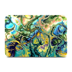 Flower Power Fractal Batik Teal Yellow Blue Salmon Plate Mats by EDDArt