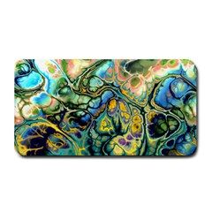Flower Power Fractal Batik Teal Yellow Blue Salmon Medium Bar Mats by EDDArt